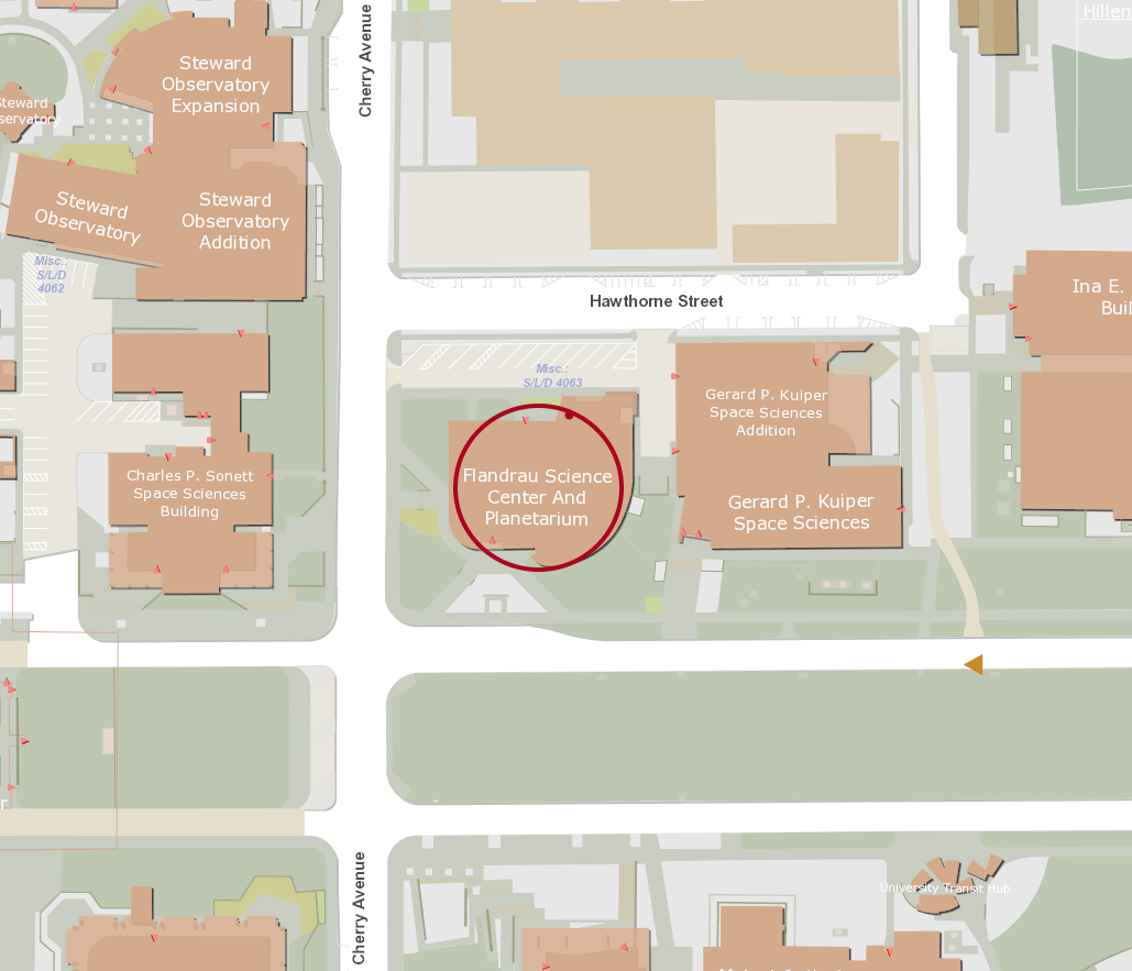 A picture of a map with the flandau science center location highlighted